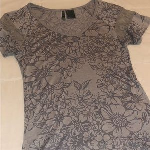 Gray floral T-shirt